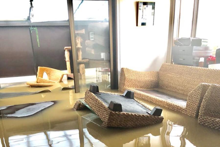 8月豪雨により浸水した家屋(リビング)